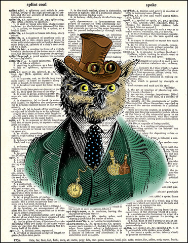 An image of a(n) Owl Steampunk Portrait Dictionary Art Print.