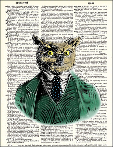 An image of a(n) Owl Portrait Dictionary Art Print.