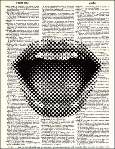 An image of a(n) Pixelated Lips Dictionary Art Print.