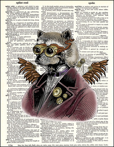 An image of a(n) Raccoon Steampunk Portrait Dictionary Art Print.