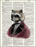An image of a(n) Raccoon Portrait Dictionary Art Print.