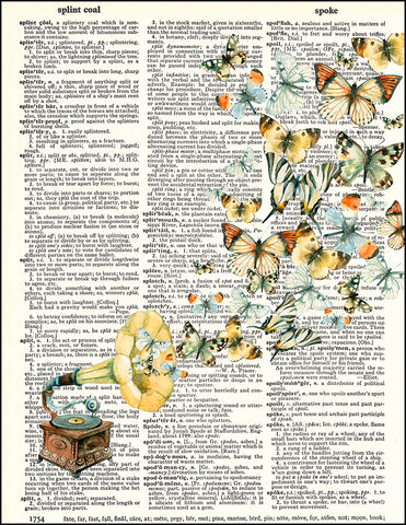 An image of a(n) Antique Record Player and Butterflies Dictionary Art Print.