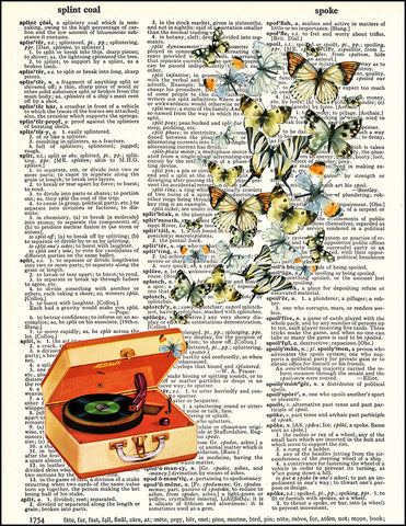 An image of a(n) Retro Record Player and Butterflies Dictionary Art Print.