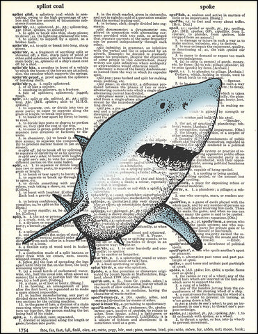 An image of a(n) Great White Shark Dictionary Art Print.