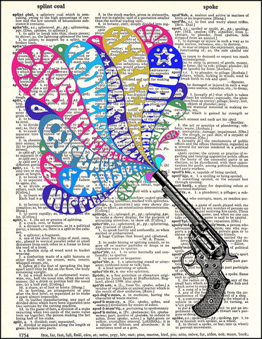 An image of a(n) 60's Peace Pistol Peacetol Dictionary Art Print.