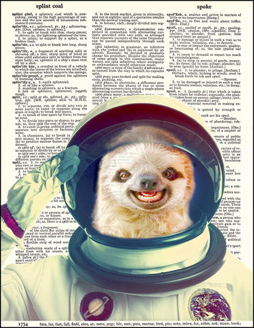 An image of a(n) Sloth Astronaut Dictionary Art Print.