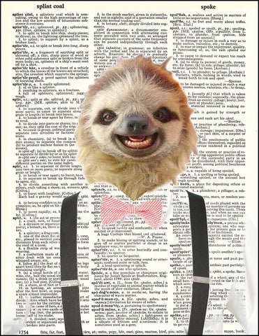 An image of a(n) Hipster Sloth Dictionary Art Print.
