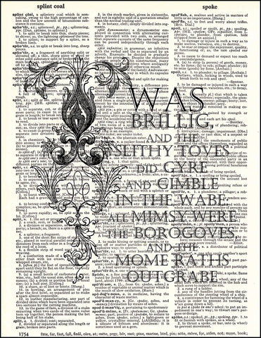 An image of a(n) Jabberwocky Quote Dictionary Art Print.