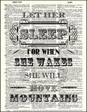An image of a(n) Let Her Sleep Quote Dictionary Art Print.