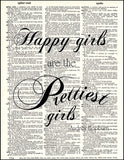 An image of a(n) Happy Girls Quote Dictionary Art Print.