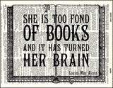An image of a(n) Too Fond Of Books Quote Dictionary Art Print.