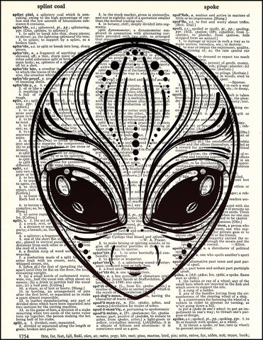 An image of a(n) Alien Head Dictionary Art Print.
