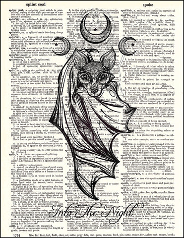 An image of a(n) Bat Into The Night Dictionary Art Print.