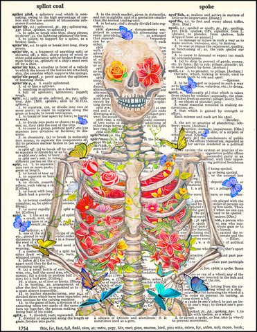 An image of a(n) Blooming Skeleton Dictionary Art Print.