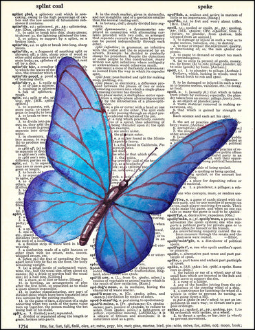 An image of a(n) Butterfly Watercolor Dictionary Art Print.