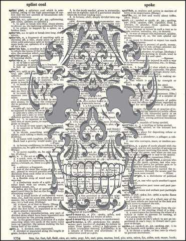 An image of a(n) Die Cut Skull Dictionary Art Print.