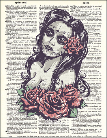 An image of a(n) Day of the Dead Girl Color Dictionary Art Print.