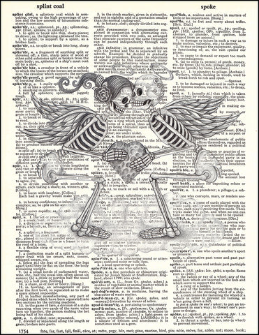 An image of a(n) Day of the Dead Pencil Cupids Dictionary Art Print.