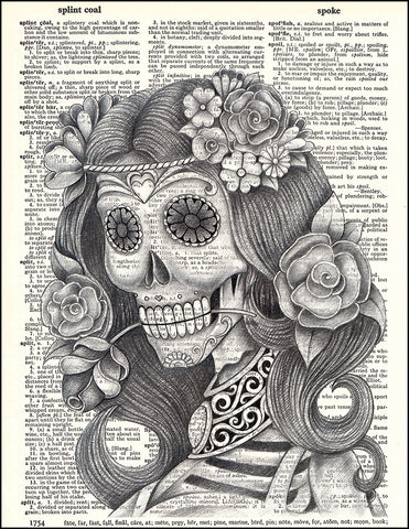 An image of a(n) Day of the Dead Pencil Girl Dictionary Art Print.