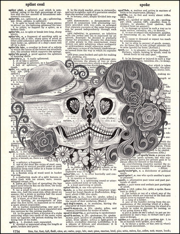 An image of a(n) Day of the Dead Pencil Kiss Dictionary Art Print.