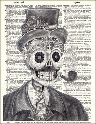 An image of a(n) Day of the Dead Pencil Man Dictionary Art Print.