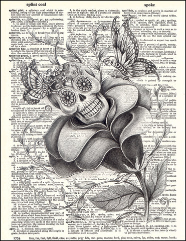 An image of a(n) Day of the Dead Rose Dictionary Art Print.