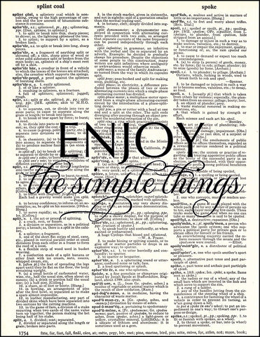An image of a(n) Enjoy Simple Things Quote Dictionary Art Print.