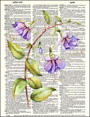 An image of a(n) Fuscia Watercolor Dictionary Art Print.