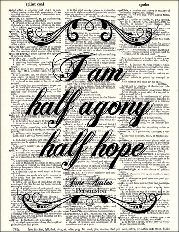 An image of a(n) Half Agony Quote Dictionary Art Print.