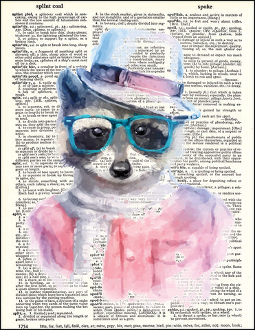 An image of a(n) Hipster Raccoon Dictionary Art Print.