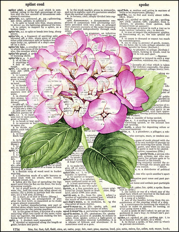 An image of a(n) Hydrangea Watercolor Dictionary Art Print.
