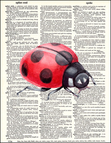 An image of a(n) Ladybug Watercolor Dictionary Art Print.