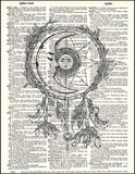 An image of a(n) Moon Dream Catcher Dictionary Art Print.