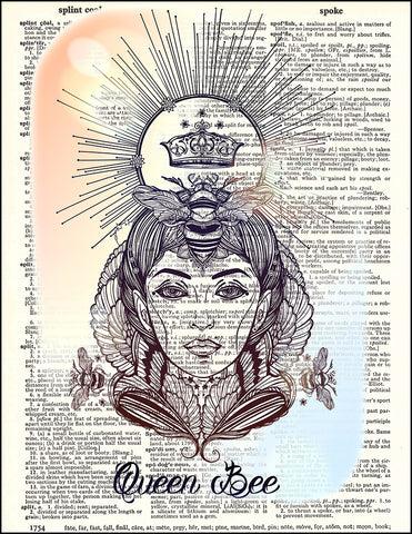An image of a(n) Queen Bee 2 Dictionary Art Print.