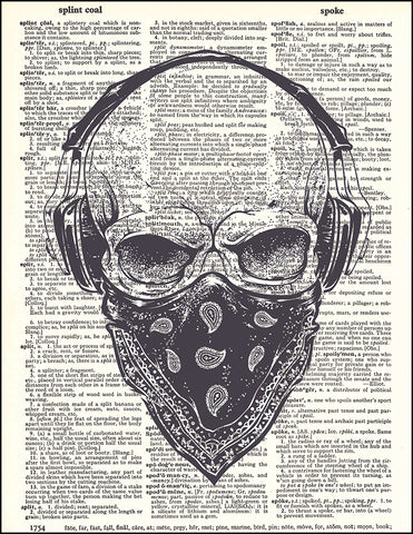 An image of a(n) Skull Bandana Dictionary Art Print.
