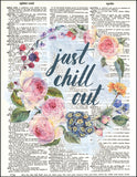 An image of a(n) Chill Out Wreath Dictionary Art Print.