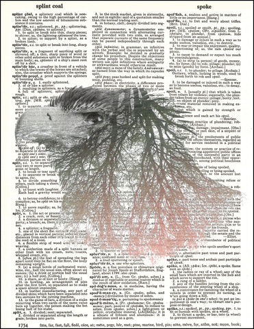 An image of a(n) Double Exposure Eagle Dictionary Art Print.