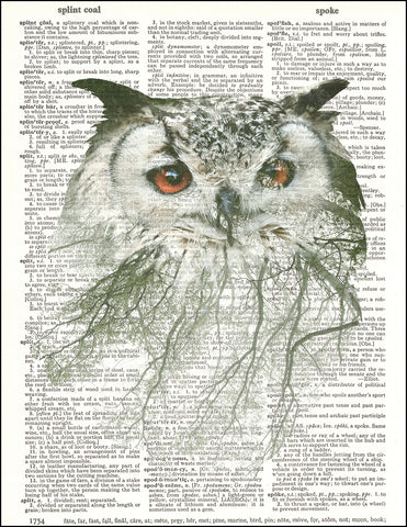 An image of a(n) Double Exposure Owl Dictionary Art Print.