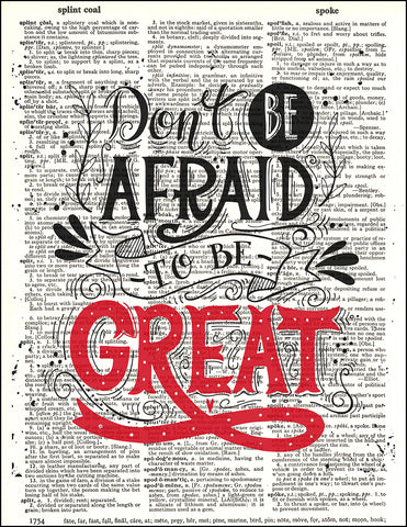 An image of a(n) Typography - Be Great Dictionary Art Print.