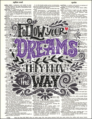 An image of a(n) Typography - Follow Your Dreams Dictionary Art Print.