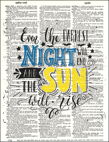 An image of a(n) Typography - Night Sun Dictionary Art Print.