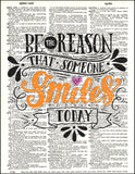 An image of a(n) Typography - Make Someone Smile Dictionary Art Print.