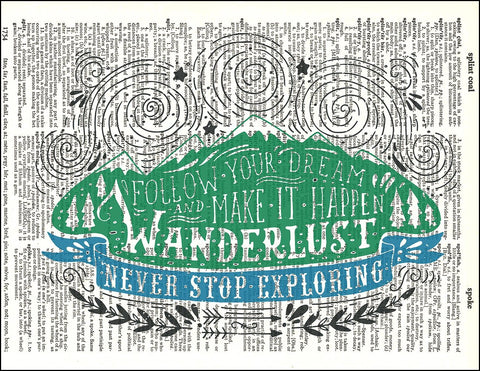 An image of a(n) Typography - Wanderlust Dictionary Art Print.