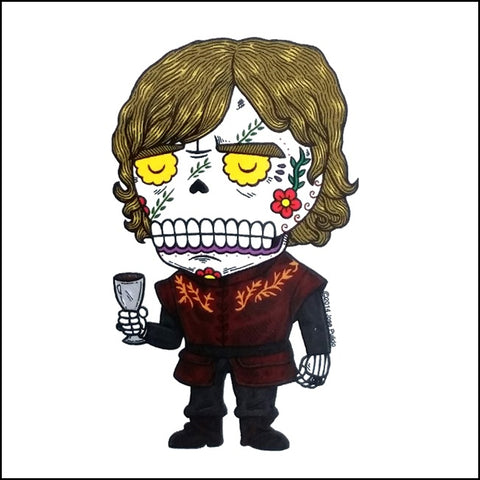 An image of an tyrion lannister inspired day of the dead sticker