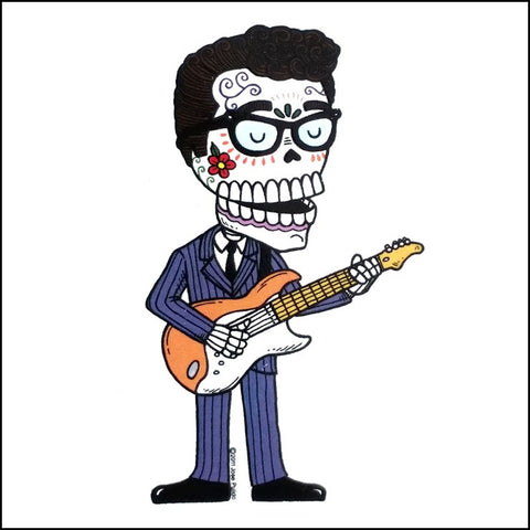 An image of a Day of the Dead inspired Buddy Holly.