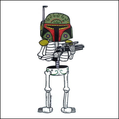 An image of a(n) Boba Fett inspired  Day of the Dead sticker.