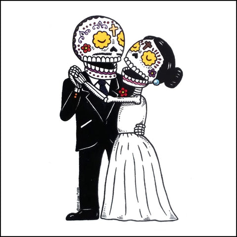 An image of a(n) Bride and Groom inspired  Day of the Dead sticker.