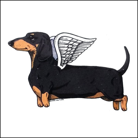 An image of a Day of the Dead inspired flying dachshund.