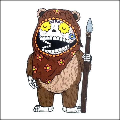 An image of a(n) Ewok - Wicket inspired  Day of the Dead sticker.
