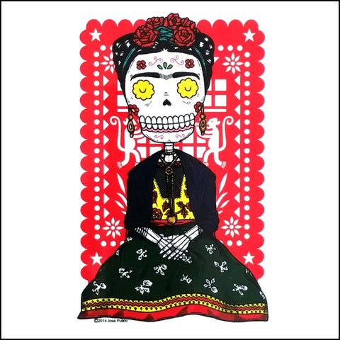 An image of a(n) Frida inspired  Day of the Dead sticker.